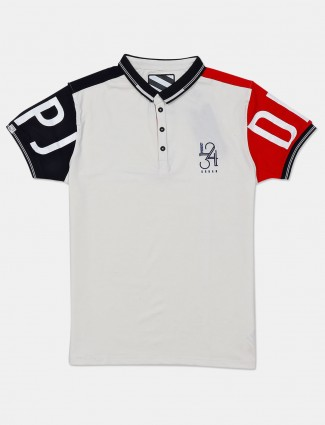 Deepee solid white half sleeves t-shirt