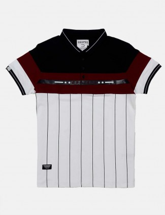 Deepee stripe white casual t-shirt