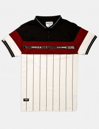 Deepee white and maroon stripe t-shirt
