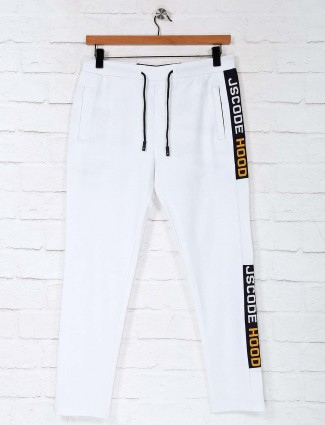 Deepee white solid cotton night track pant