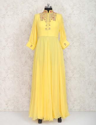 Pakistani designer anarkali suit in yellow color