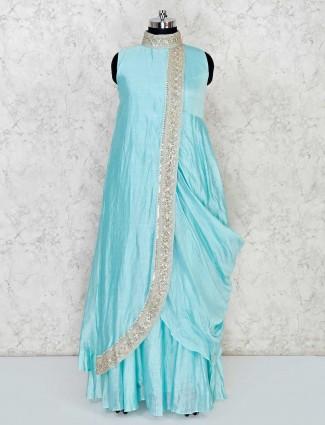 Designer aqua draped suit in cotton silk