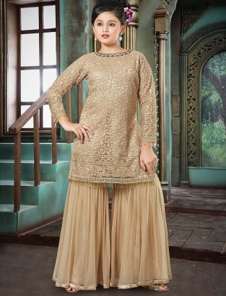 Designer beige color net fabric punjabi sharara suit