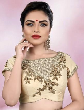 Designer beige color ready made blouse