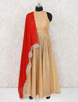 Designer beige cotton silk wedding anarkali suit