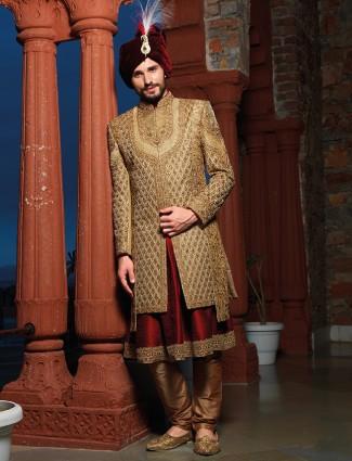 Designer beige maroon silk groom sherwani