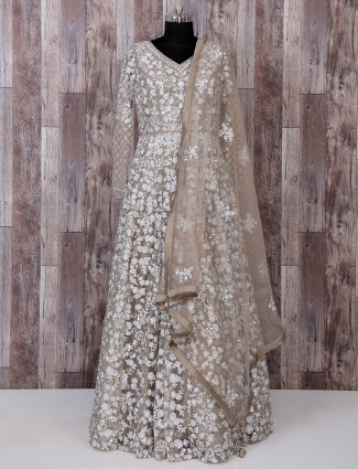 Designer beige net fabric anarkali suit for reception