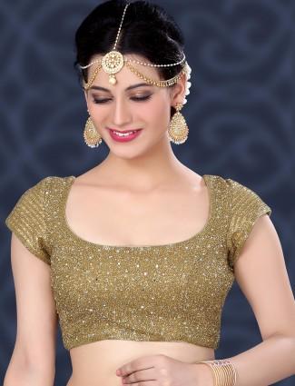 Designer beige raw silk ready made blouse