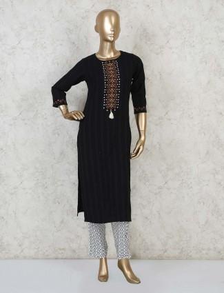 Designer black cotton straight cut kurta for festivals
