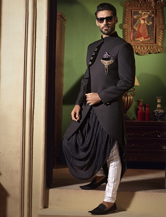 Designer black indo western in silk fabric