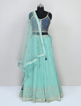 Designer blue cotton silk wedding lehenga choli
