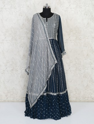 Designer blue georgette gown special for wedding