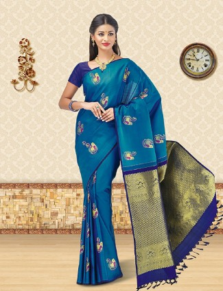 Designer blue kanchipuram silk saree