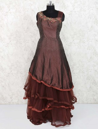 Designer brown color silk gown