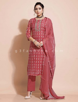 Designer dusty pink pant salwar kameez for festivals in cotton