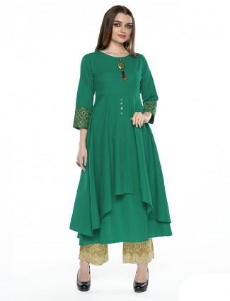 Designer festive wear green plain anarkali suit