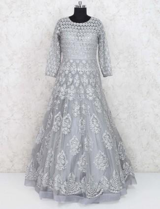 Designer floor length grey hued gown