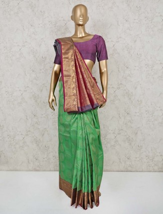 Designer green saree in south pure silk