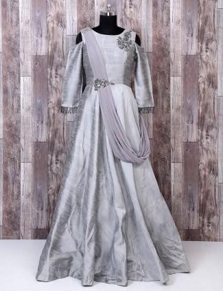 Designer grey color silk gown