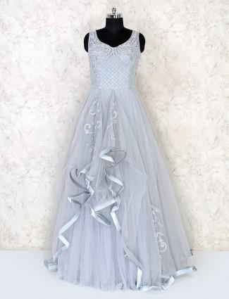 Designer grey floor length gown for party in net
