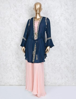 Designer jacket style pink and navy palazzo suit