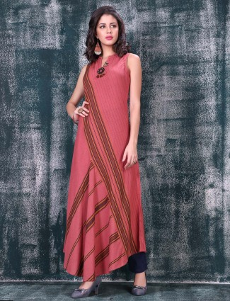 Designer long pink color kurti