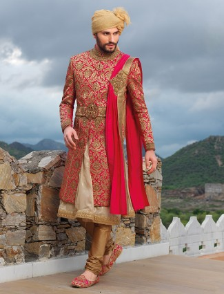 Designer magenta wedding wear silk sherwani