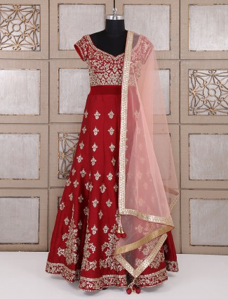 Designer maroon color silk anarkali suit