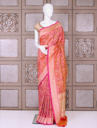 Designer peach pure banarasi silk saree for wedding function