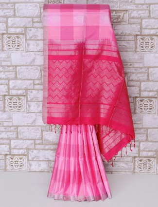 Designer pink color silk saree