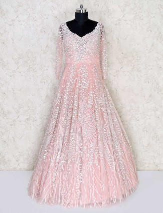 Designer pink net wedding wear gown