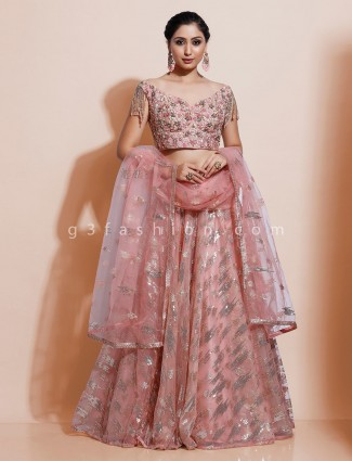 Designer pink organza tissue silk lehenga choli for wedding