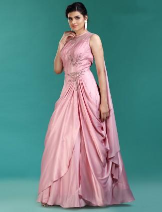 Designer pink satin gown
