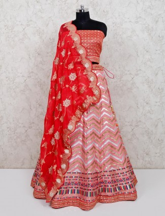 Designer pink silk wedding wear lehenga choli