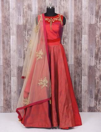 Designer plain red silk wedding wear anarkali suit