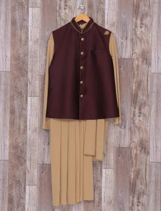 Designer purple and beige waistcoat set