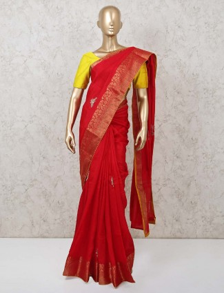 Designer red saree in dola silk for party
