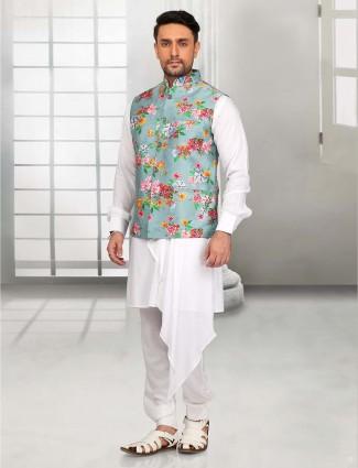 Designer white cotton plain waistcoat set
