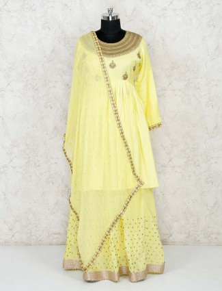 Designer yellow cotton silk lehenga suit