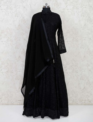 Designetr black thread woven floor length gown