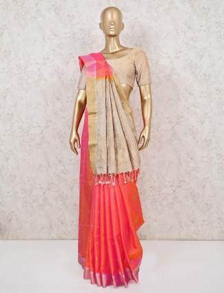 Dhupchav orange and peach silk saree