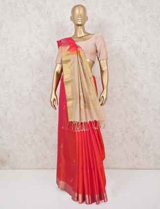 Dhupchhav red and cream saree in south silk