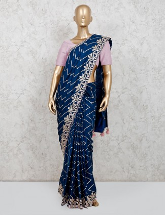 dola silk party wear navy saree