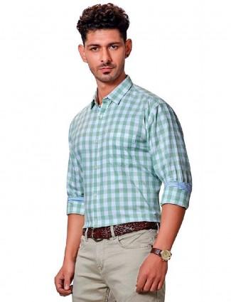 Dragon Hill green checks slim collar shirt