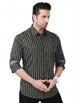 Dragon Hill green stripe casual shirt