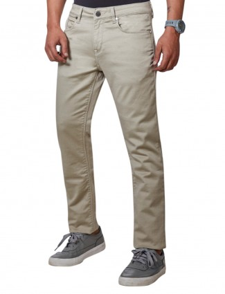 Dragon Hill solid beige slim fit jeans
