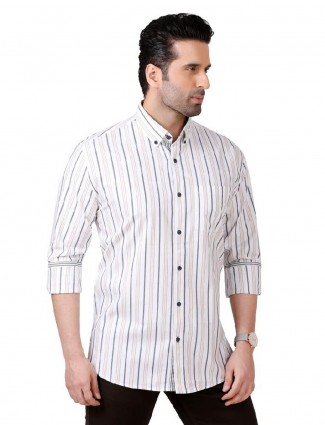 Dragon Hill white stripe mens shirt