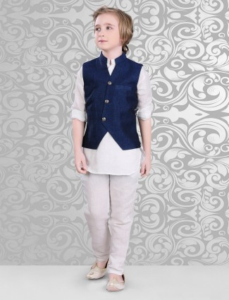 Dressy navy and white cotton waistcoat set