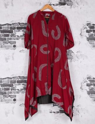Dressy red cotton printed kurti