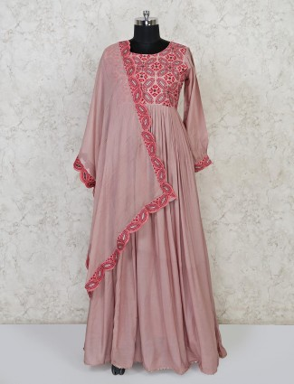 Dusty pink cotton silk floor length anarkali suit